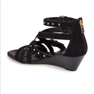 ISOLÁ Petra Strappy Wedge Sandal Black Suede
